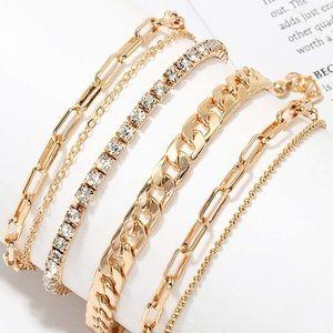 Layered Bracelets Gold Set New
